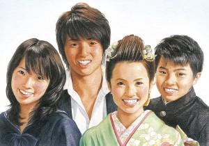 色鉛筆肖像画_成人式4人兄弟家族写真