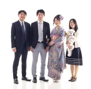 成人式の家族写真 ペットフォト