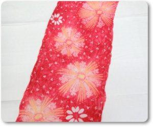 絞り浴衣 赤色 花柄