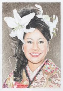 花嫁の色鉛筆肖像画