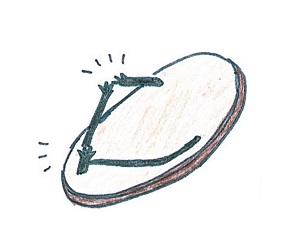 鼻緒が切れた草履のイラスト