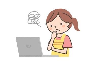 パソコン操作が苦手な主婦のイラスト