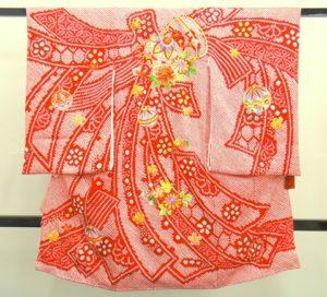 女の子のお宮参りの着物 総絞り 赤