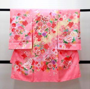 女の子お宮参り着物 濃いピンク色 花柄