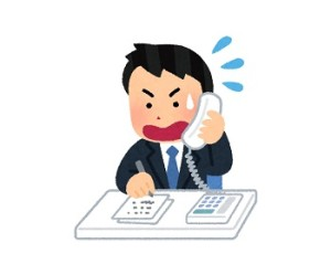焦って電話対応する男性のイラスト