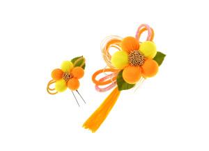 成人式の振袖用ちりめん髪飾り2点セット(黄色)