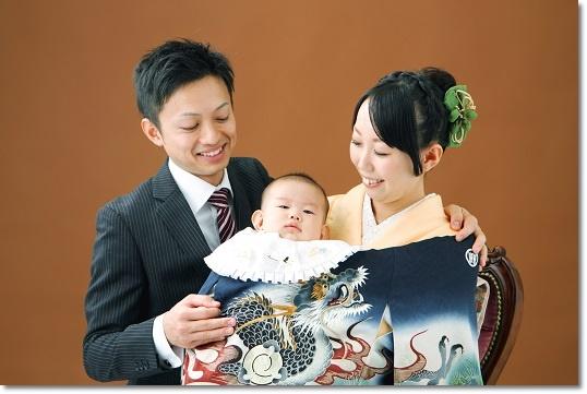 お宮参り家族写真