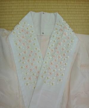 桜柄 刺繍半衿