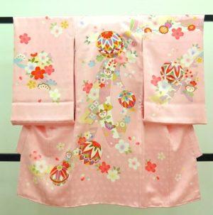 女の子のお宮参りの着物 薄ピンク色 手毬 桜 束ね熨斗