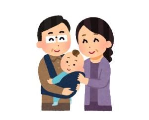 赤ちゃんを抱く中年夫婦イラスト