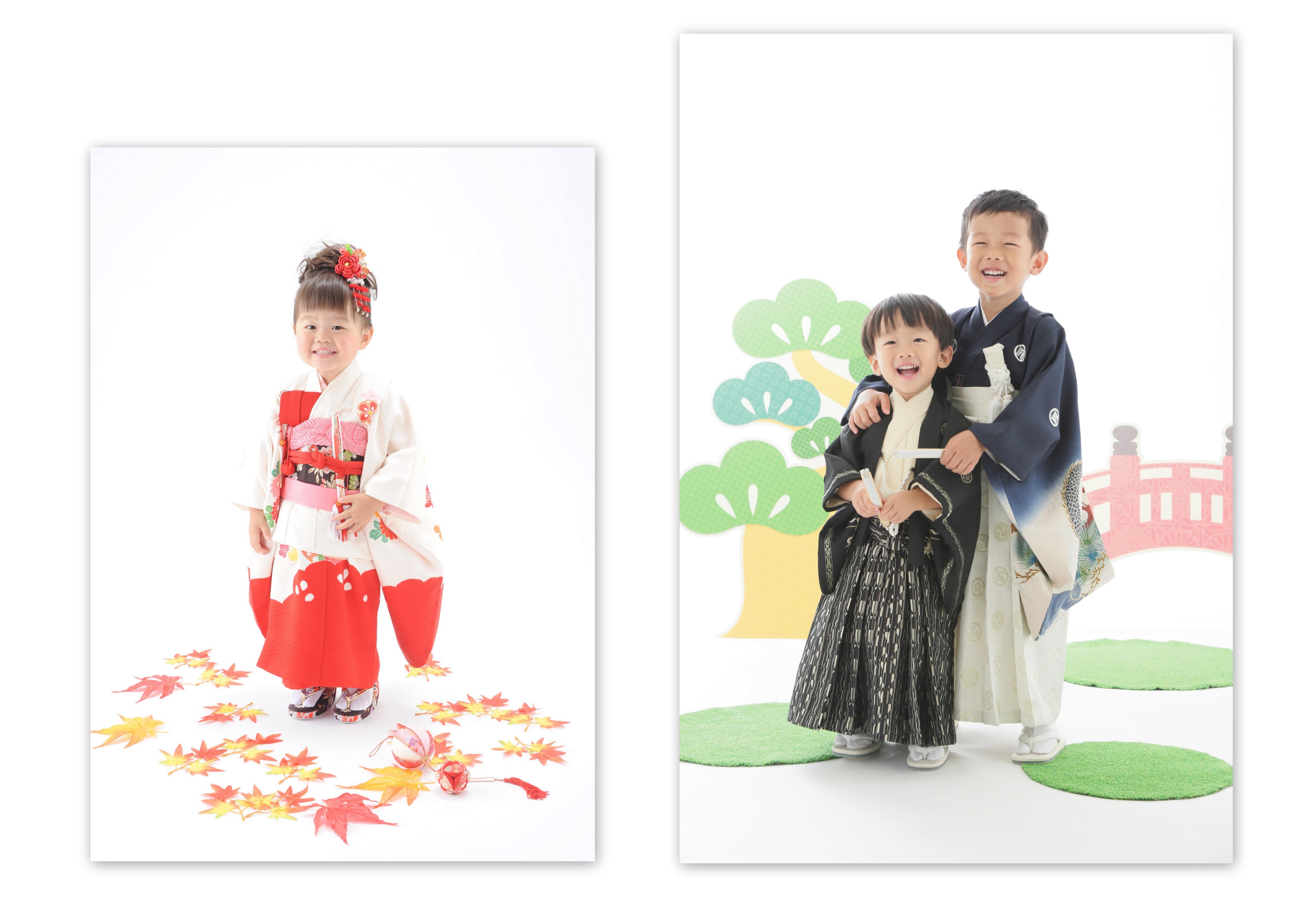 お宮参りの着物を女の子3歳 男͡の子5歳の七五三用に直し