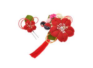 成人式の振袖用ちりめん桜髪飾り2点セット(赤)