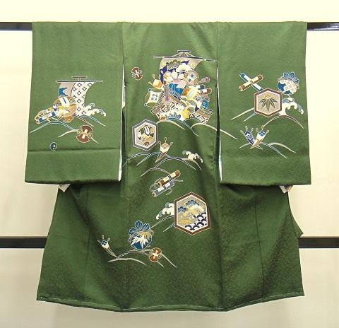 男の子お宮参りの着物 濃いグリーン色 宝船の柄